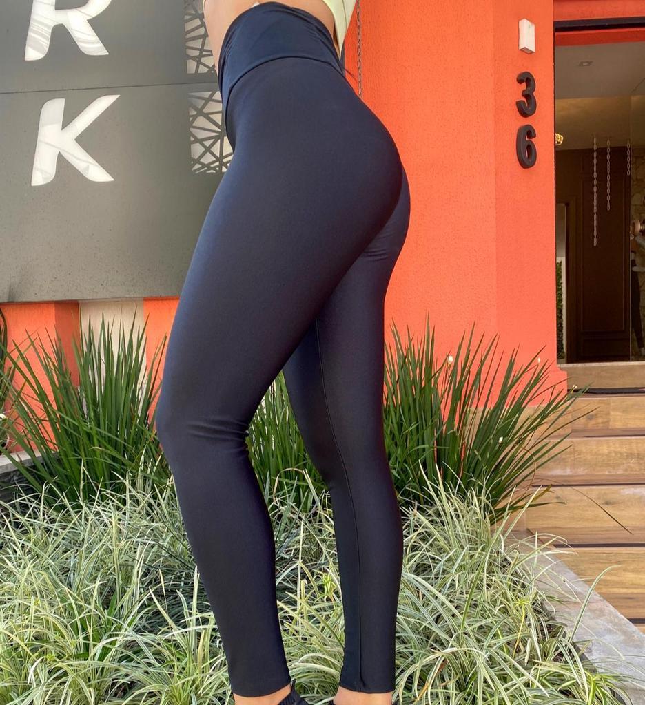 Calça legging cós drapeado de poliamida  - Lamark Fitness