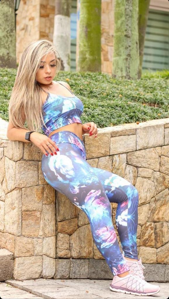 Calça legging estampada cós v de poliamida  - Lamark Fitness