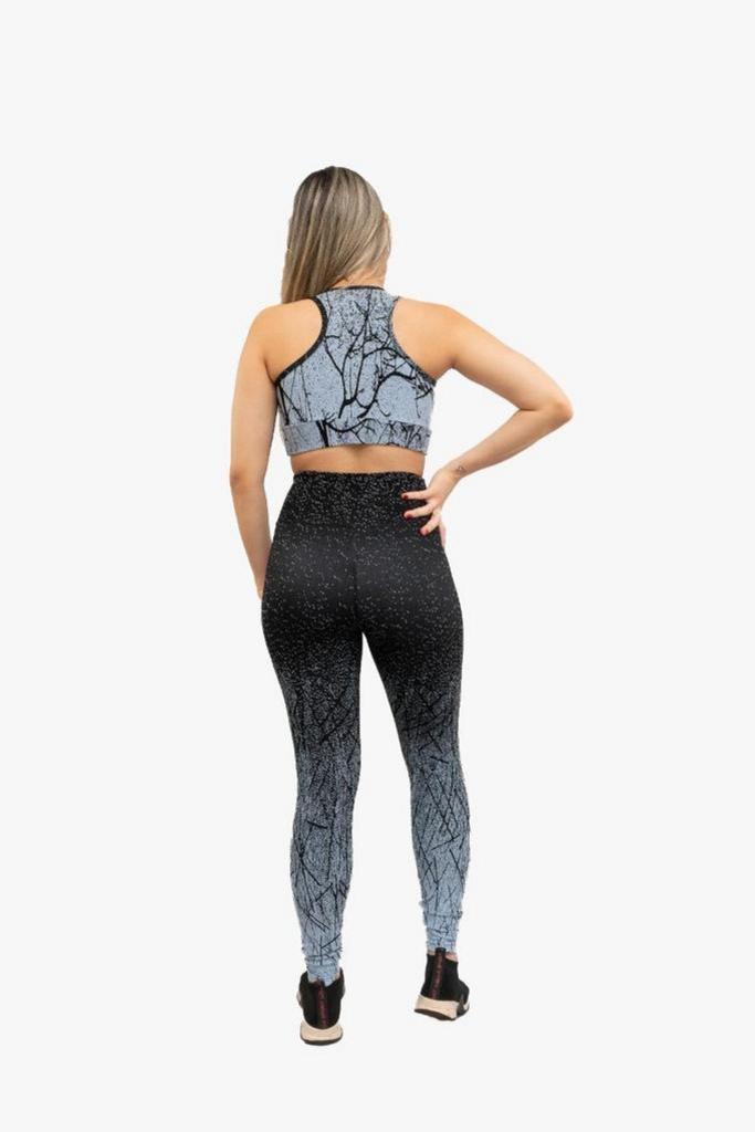 Calça legging jacguard duo de poliamida  - Lamark Fitness