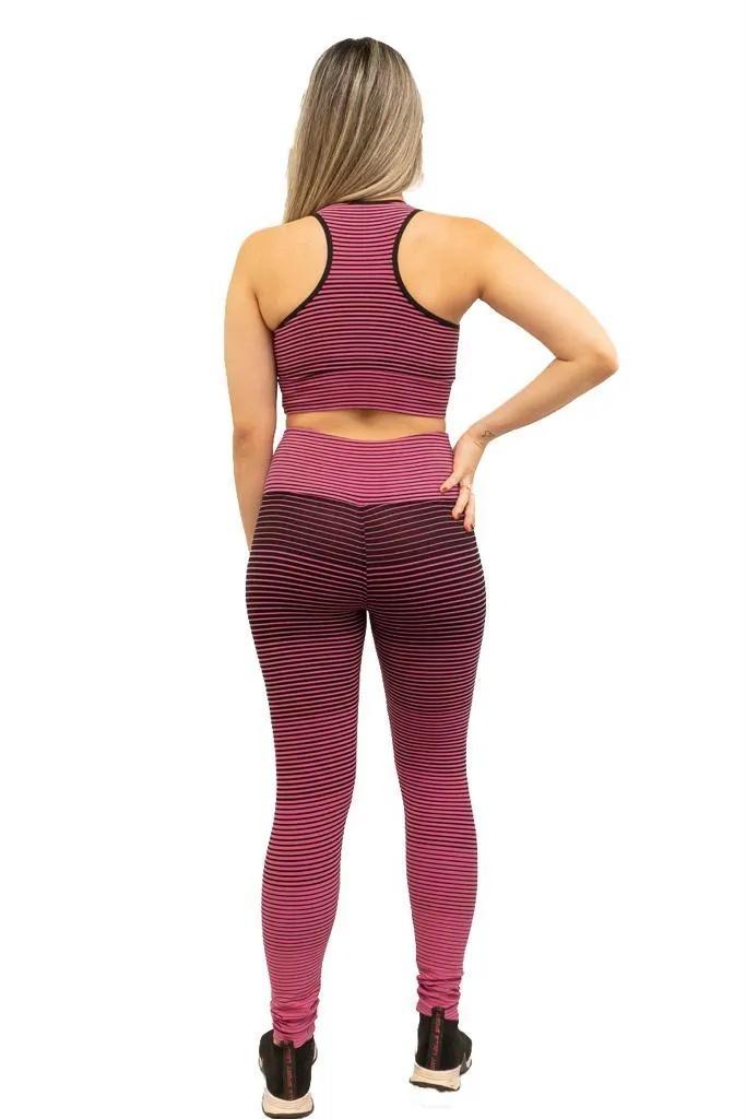 Calça legging jacguard listrada de poliamida  - Lamark Fitness