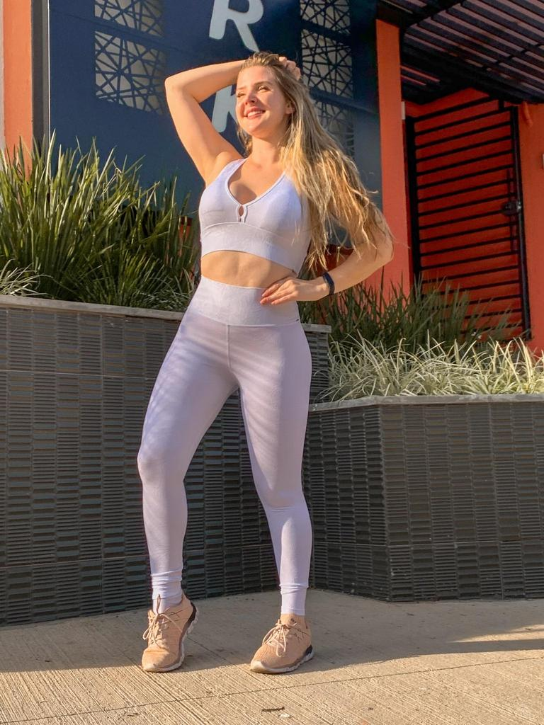 Calça legging leaf de poliamida texturizada  - Lamark Fitness