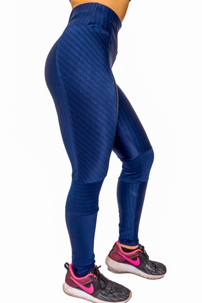 CALÇA LEGGING POLIAMIDA AZUL COM RECORTES  - Lamark Fitness
