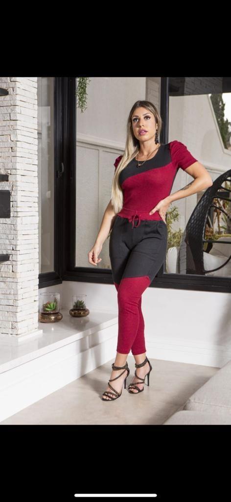 Conjunto blusa ribana com manga e calça comfy casual ribana  - Lamark Fitness