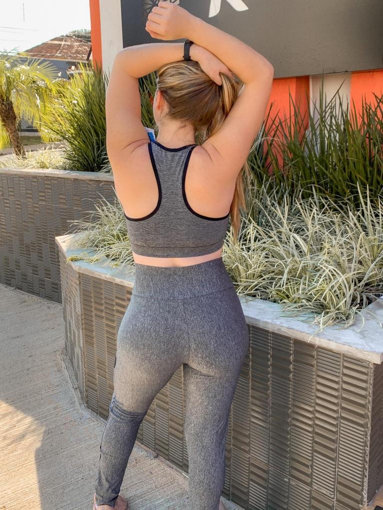 Conjunto top telinha com bojo removível calça legging com telinha de poliamida  - Lamark Fitness
