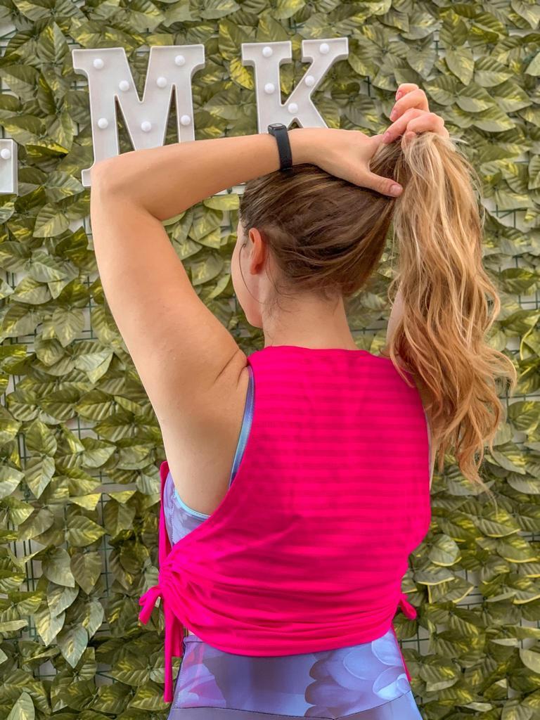 Regata cropped lacinho de poliamida  - Lamark Fitness