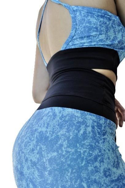 TOP COM BOJO POLIAMIDA DETALHE VERDE ÁGUA  - Lamark Fitness