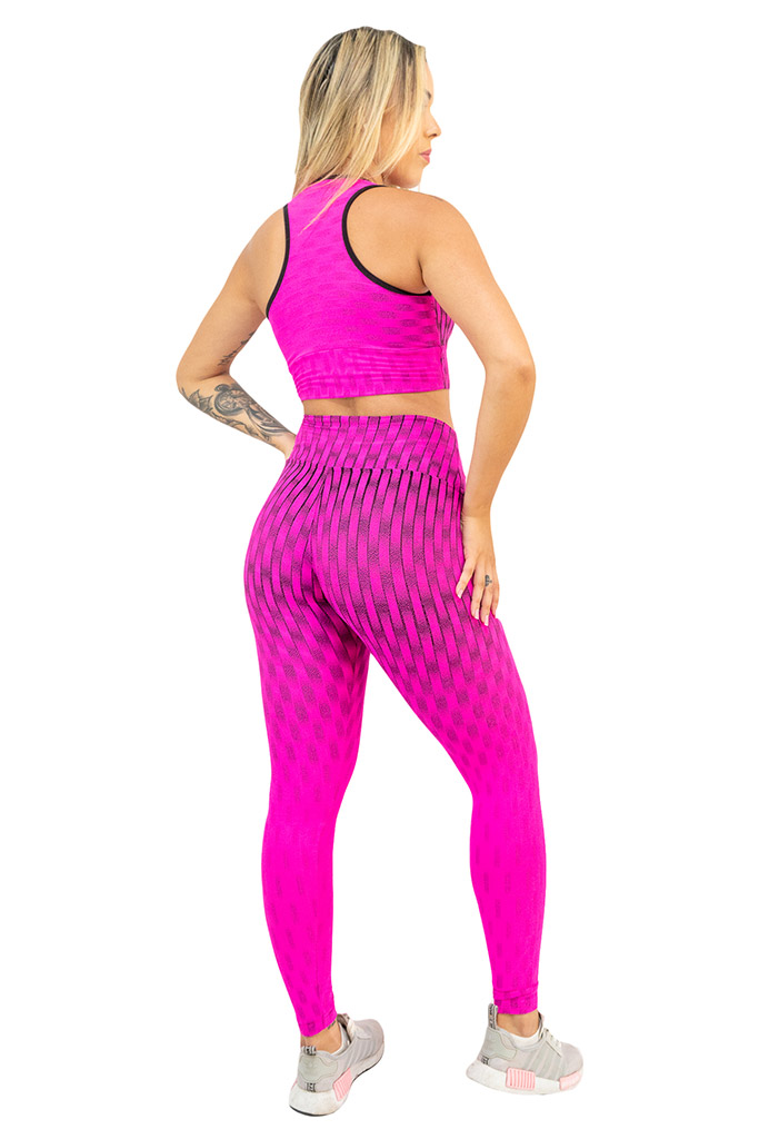 TOP JACQUARD PINK  - Lamark Fitness