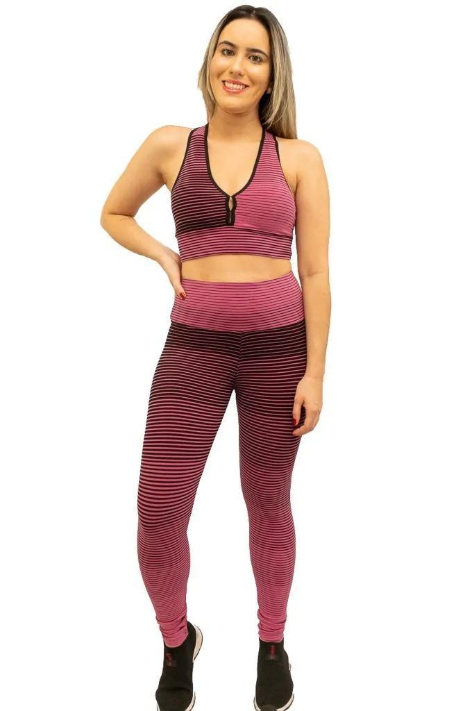 Top listrado com bojo removível  - Lamark Fitness