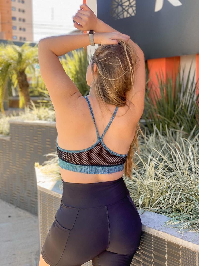 Top sem bojo de alcinha  cruzado azul com cinza  - Lamark Fitness