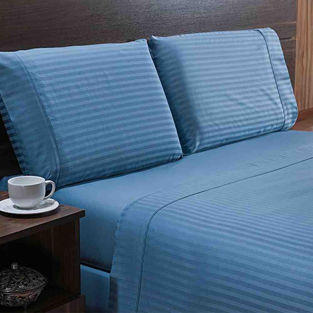 Jogo de Cama 300Fios King Stripe Azul