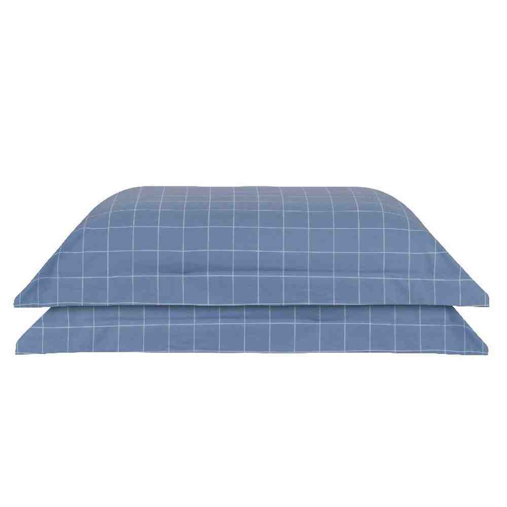 Kit 2 Fronhas 50X70 Grid Indigo