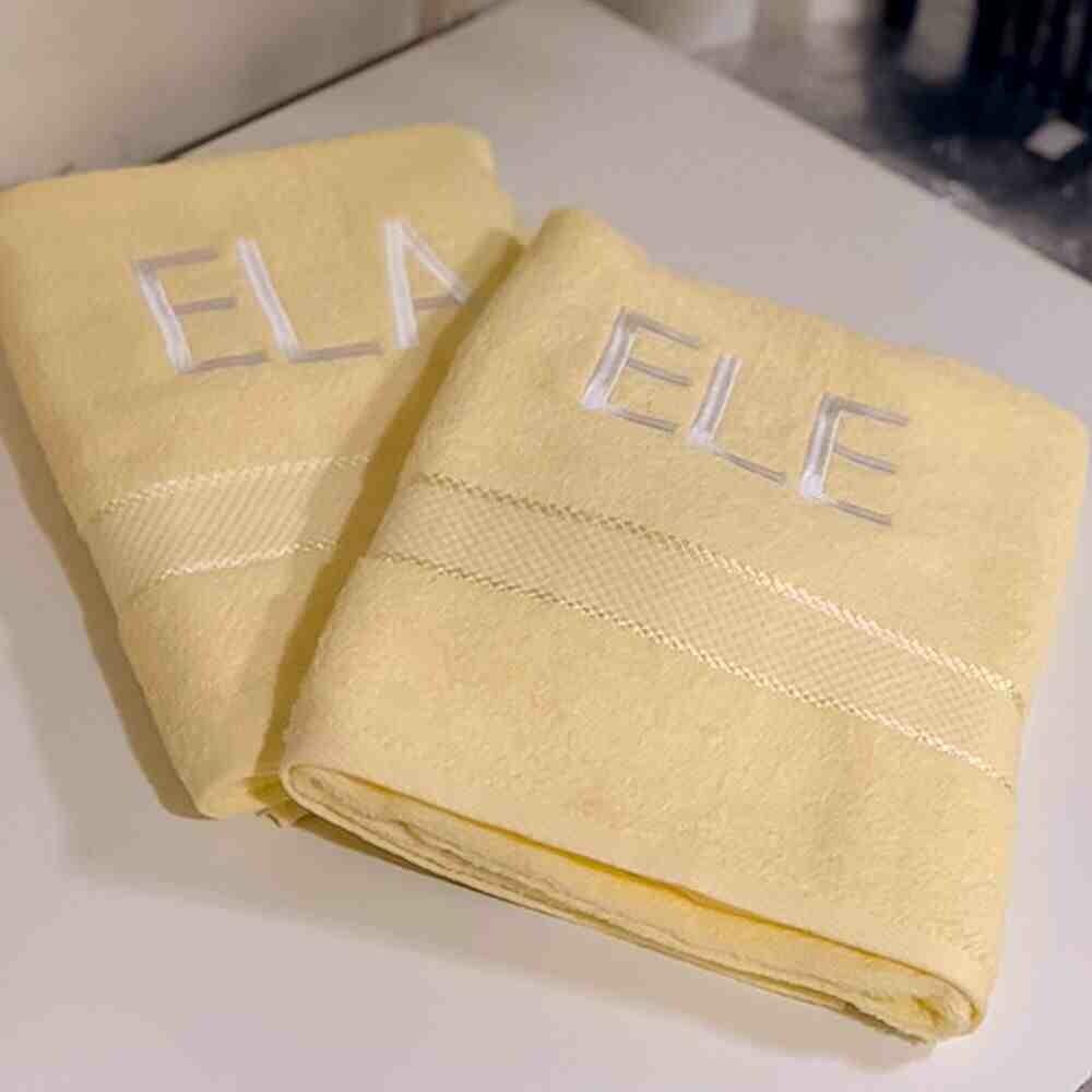 Toalha de Banho Ele e Ela Amarelo