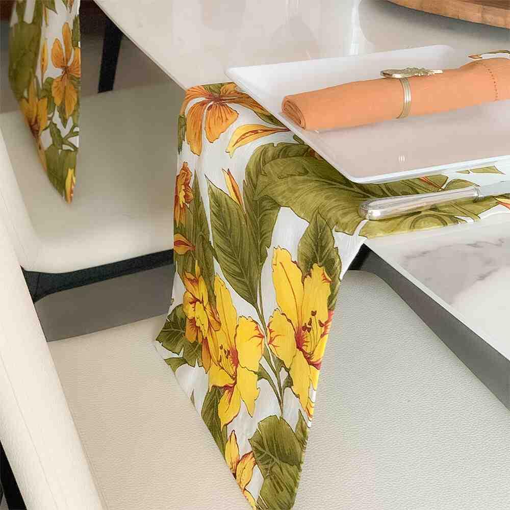 Trilho de Mesa 170x30 Floral Amarelo