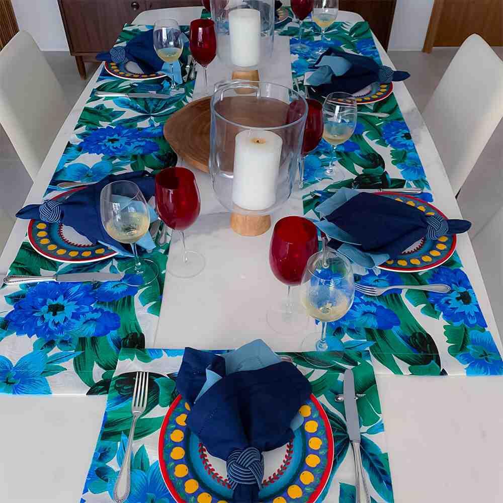 Trilho de Mesa 170x30 Floral Azul