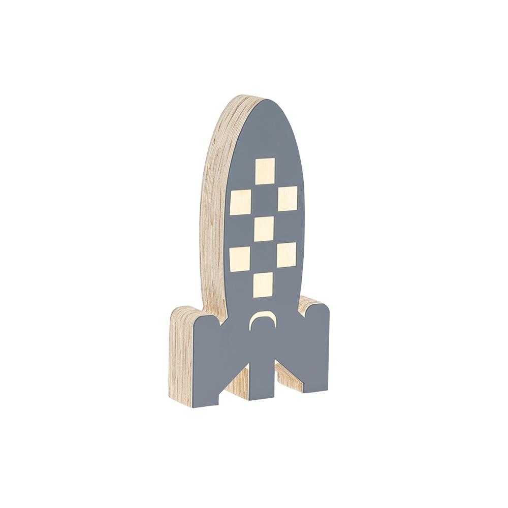 Adorno decorativo de madeira  Foguete Cinza