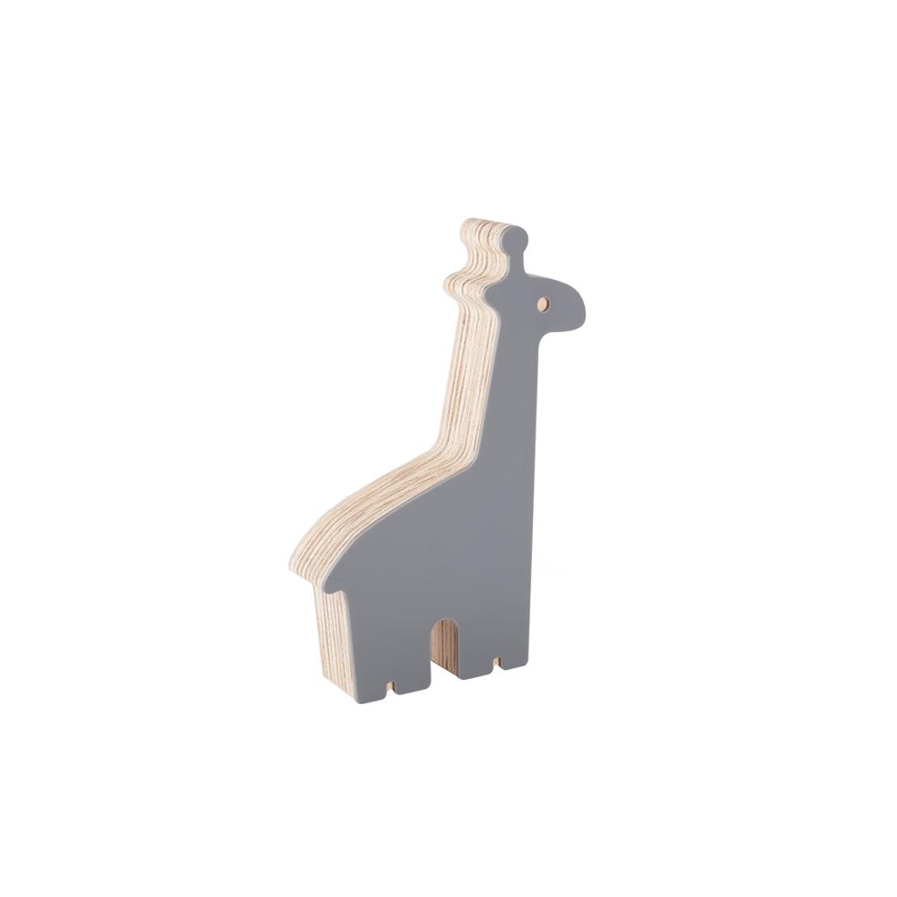 Adorno decorativo de madeira Girafa Cinza