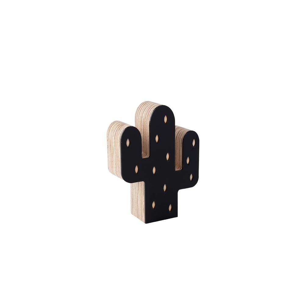 Adorno decorativo de madeira Mini Cacto preto