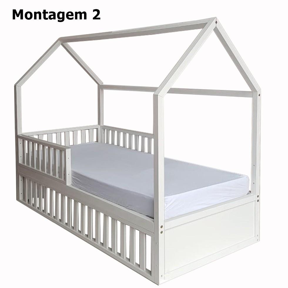 Cama Montessori Solteiro 4 em 1 Branca