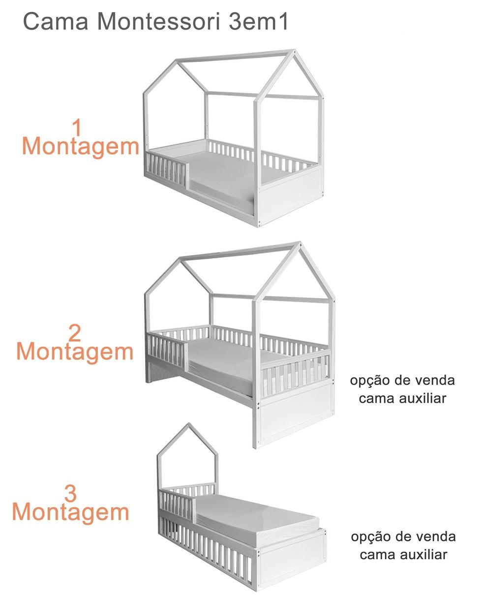 Cama Montessori Solteiro  4 em 1 Rose