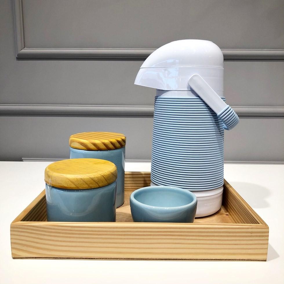 Kit Higiene Azul e Madeira
