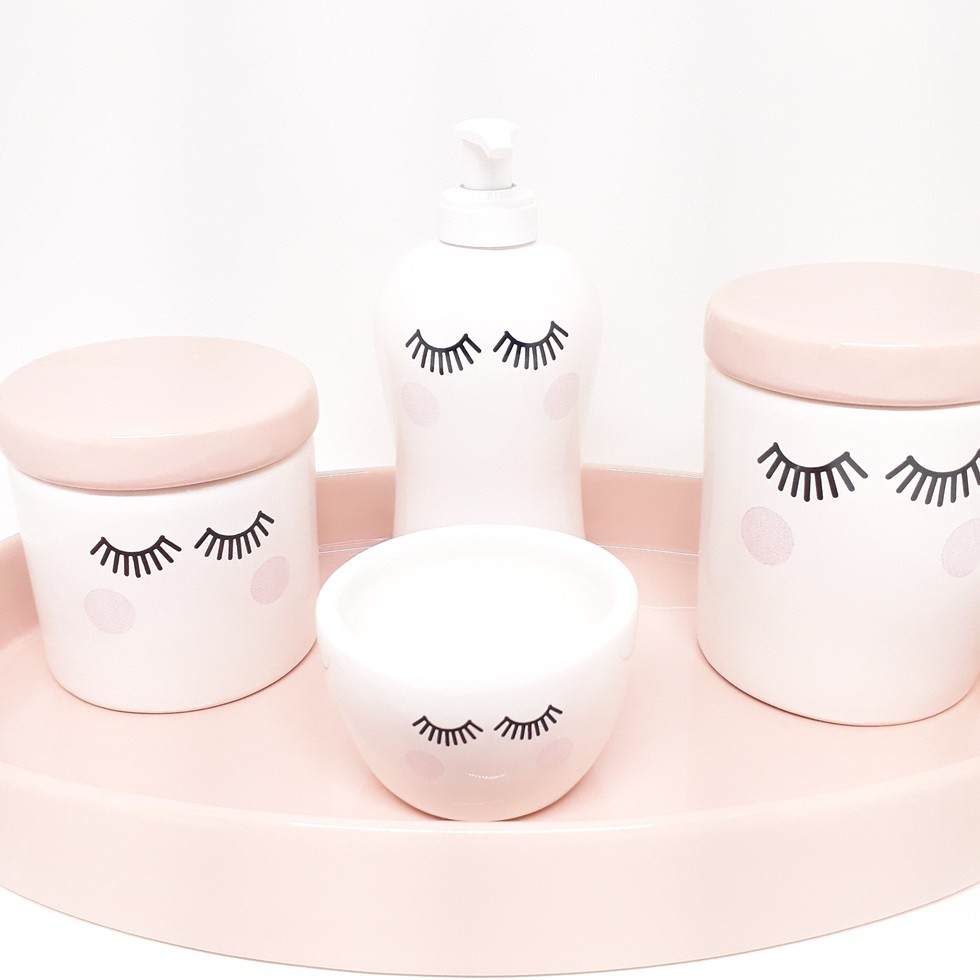 Kit Higiene Cerâmica Cílios Rosa