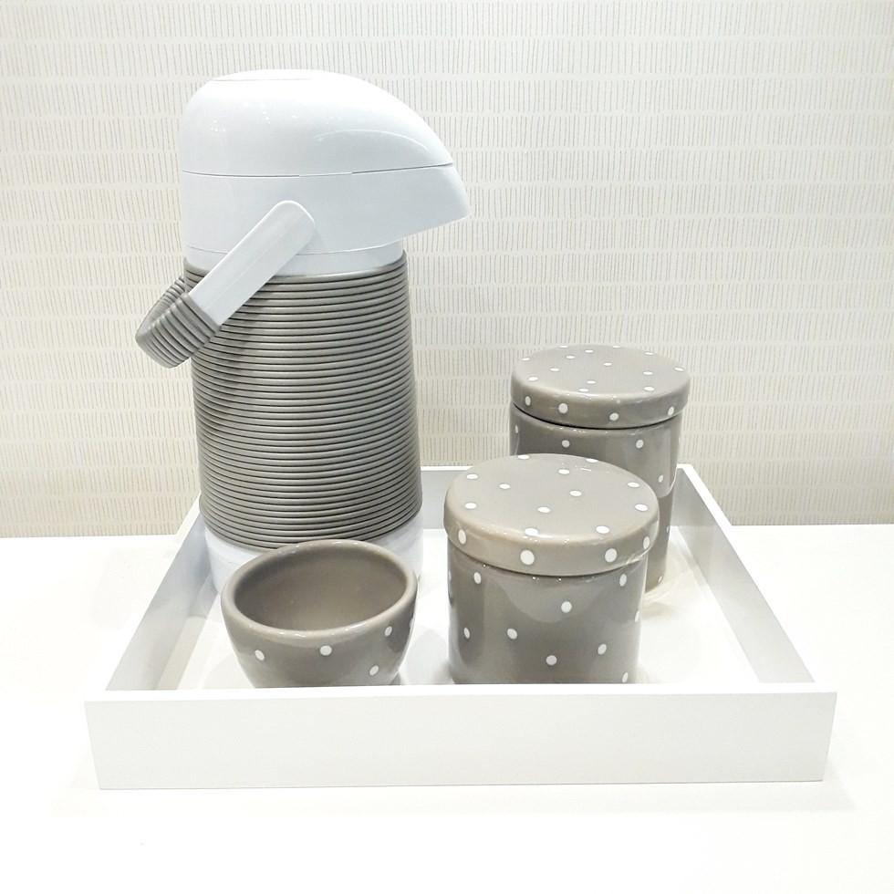 Kit Higiene Cinza e Branco Poá