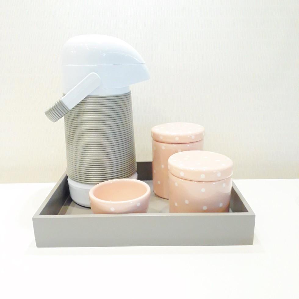 Kit Higiene Cinza e Poá Rosa