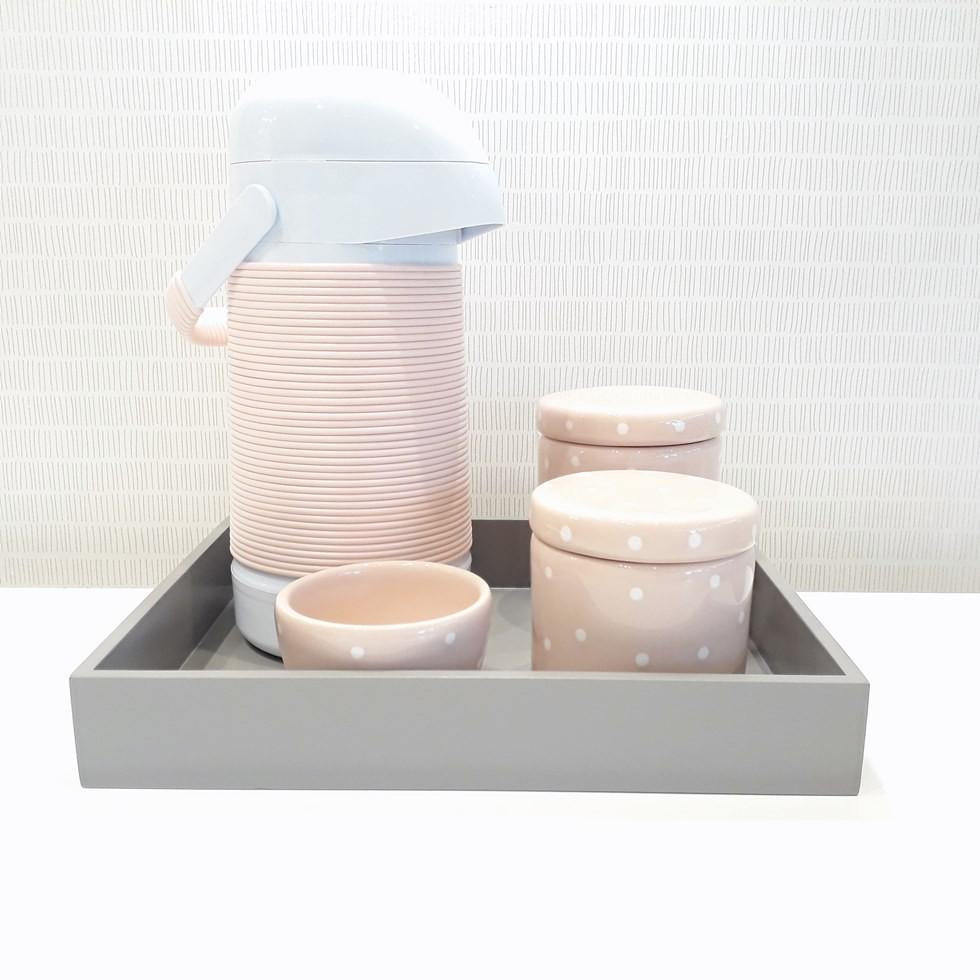 Kit Higiene Cinza e Rosa Poá