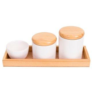 Kit Higiene de Cerâmica Tampa de Madeira