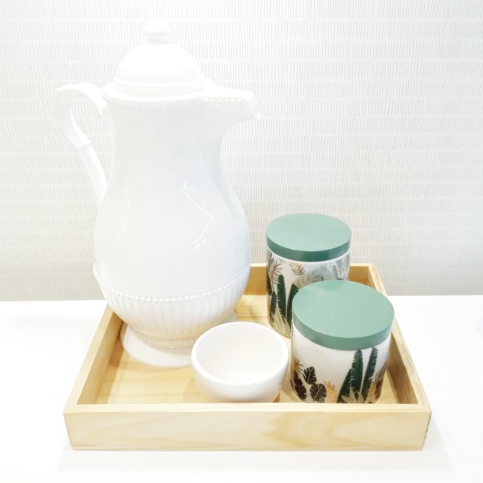 Kit Higiene Folhagem Verde e Madeira