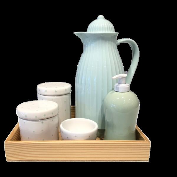 Kit Higiene Poá Branco e Verde