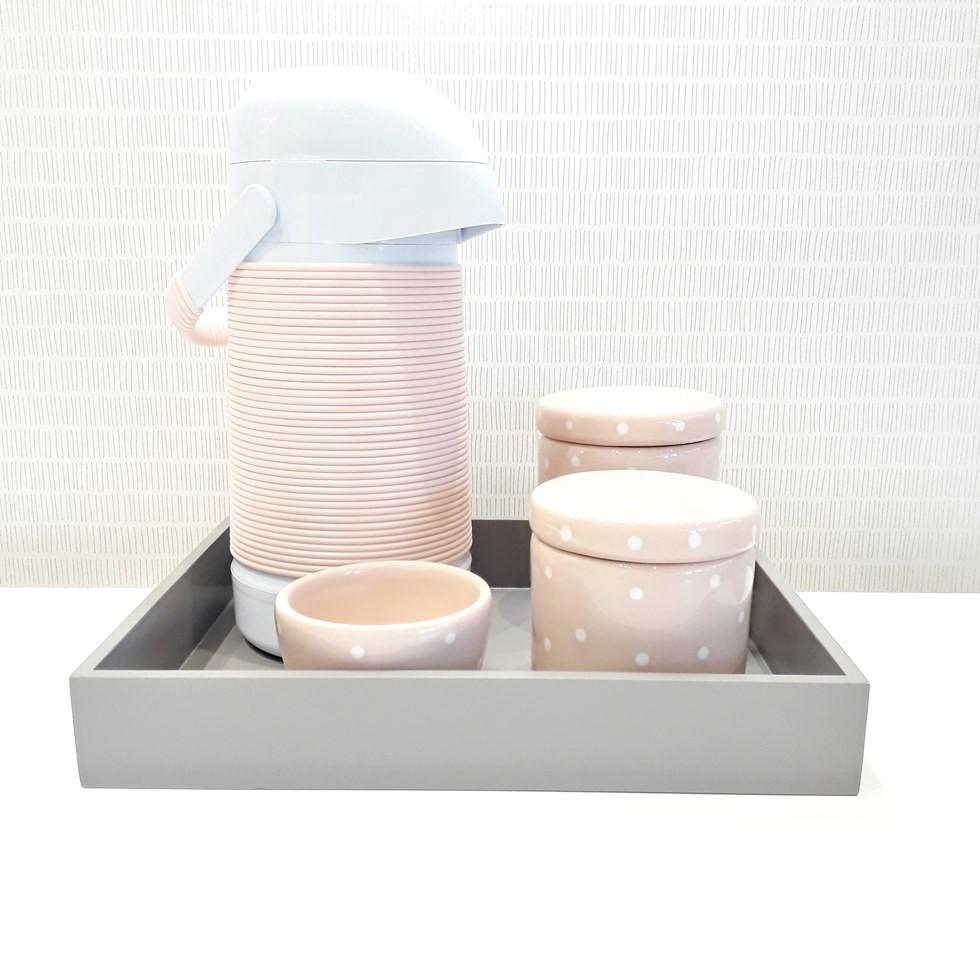 Kit Higiene Poá  Rosa e Cinza