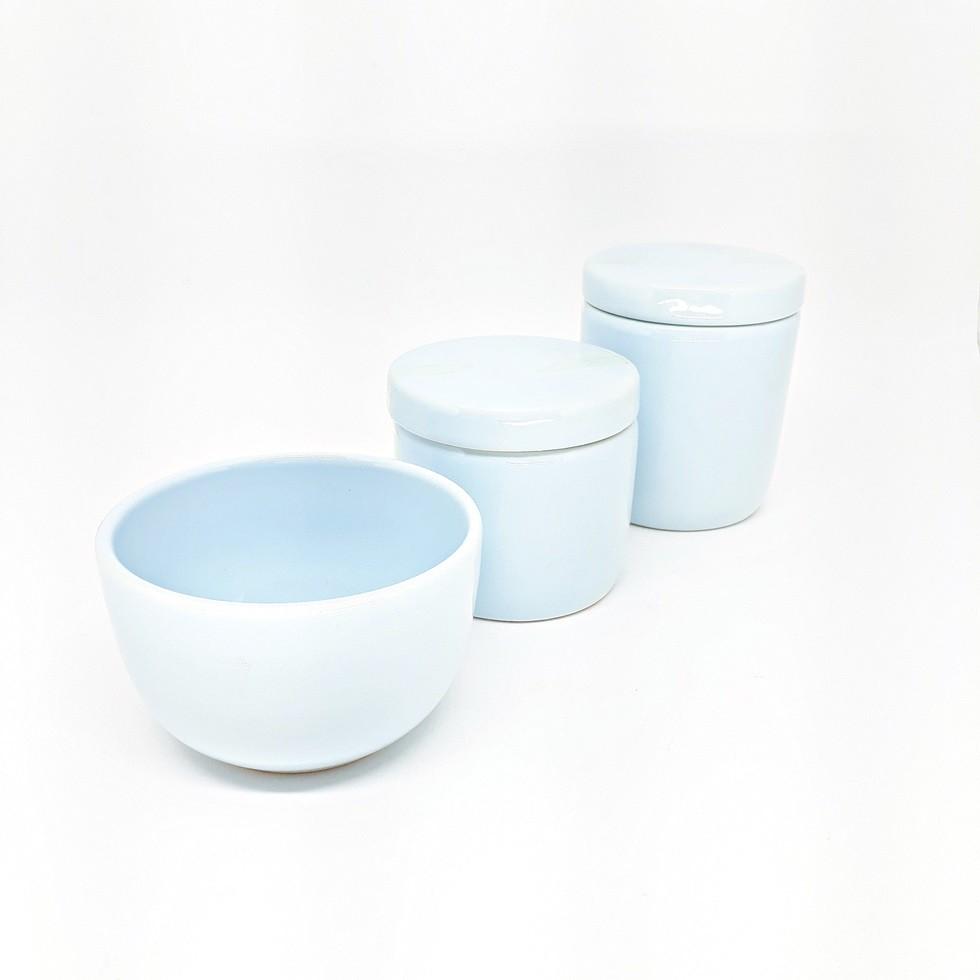 Kit Higiene Trio em Cerâmica Azul