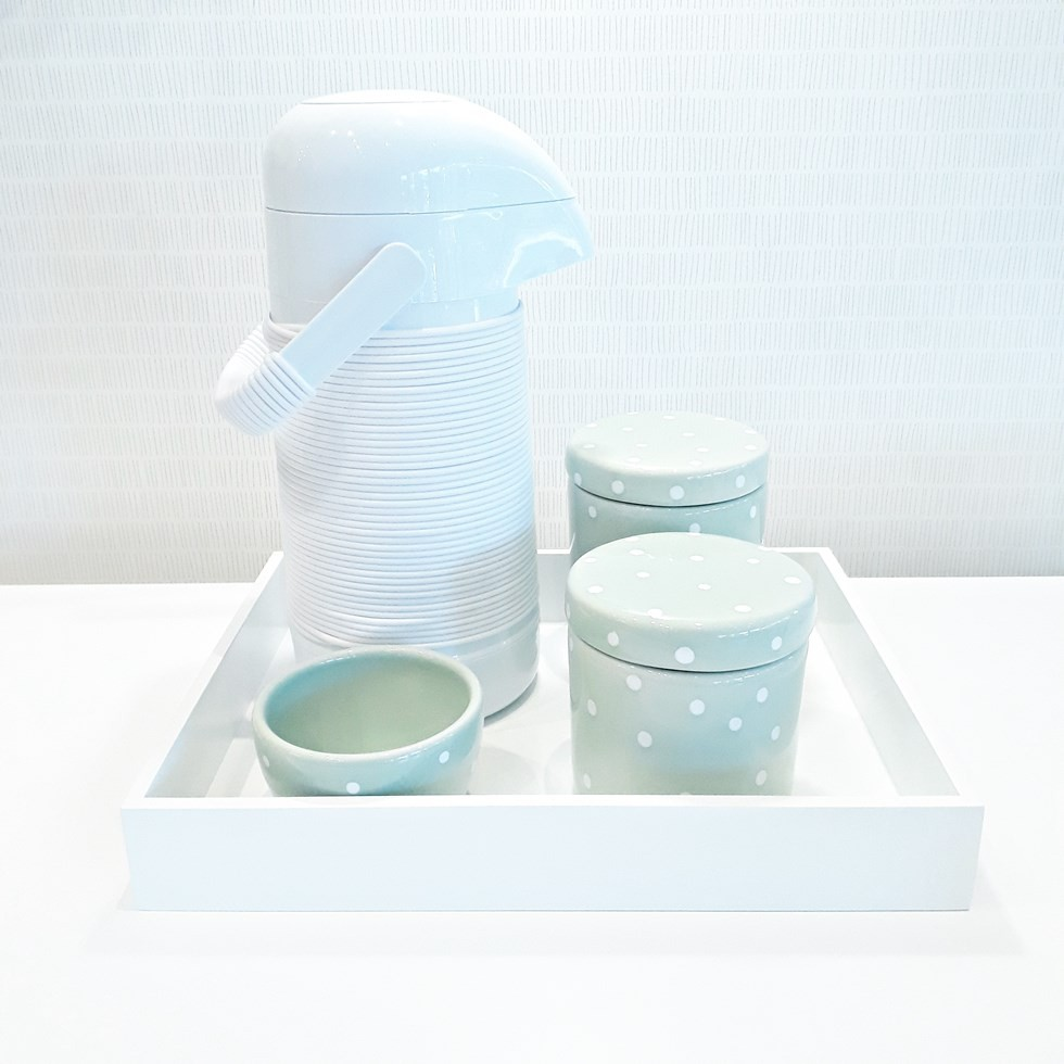 Kit Higiene Verde Poá e Branco