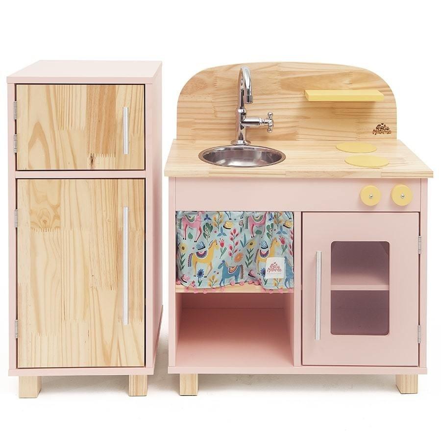 Kit Mini Cozinha com Geladeira Rosa