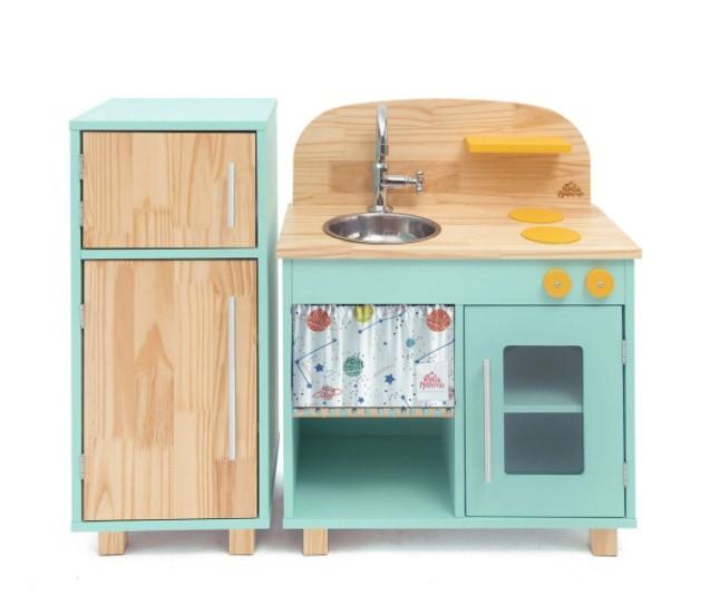 Kit Mini Cozinha e Geladeira Verde Agua