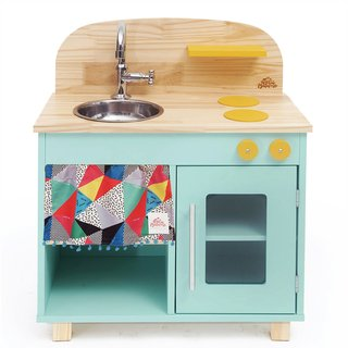 Mini Cozinha de madeira verde agua