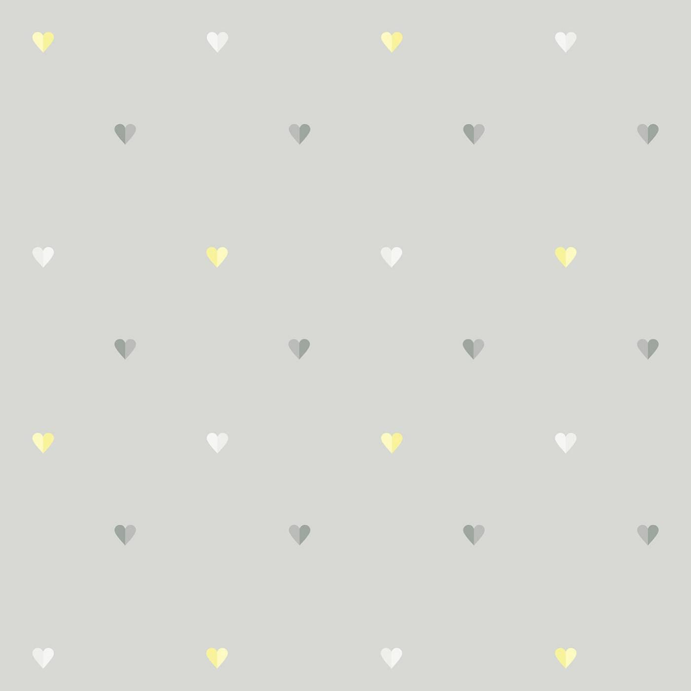 Papel de Parede Coração Bicolor Cinza