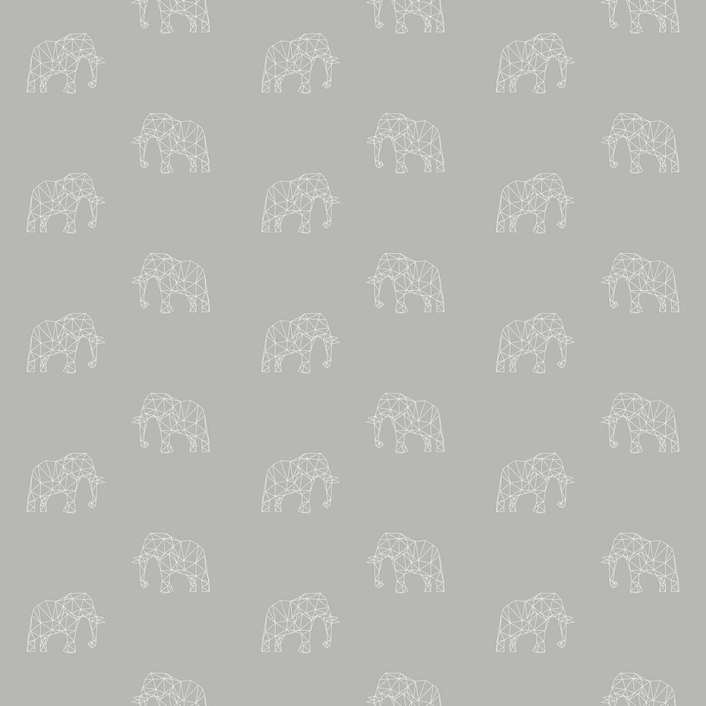 Papel de Parede Elefante Fundo Cinza