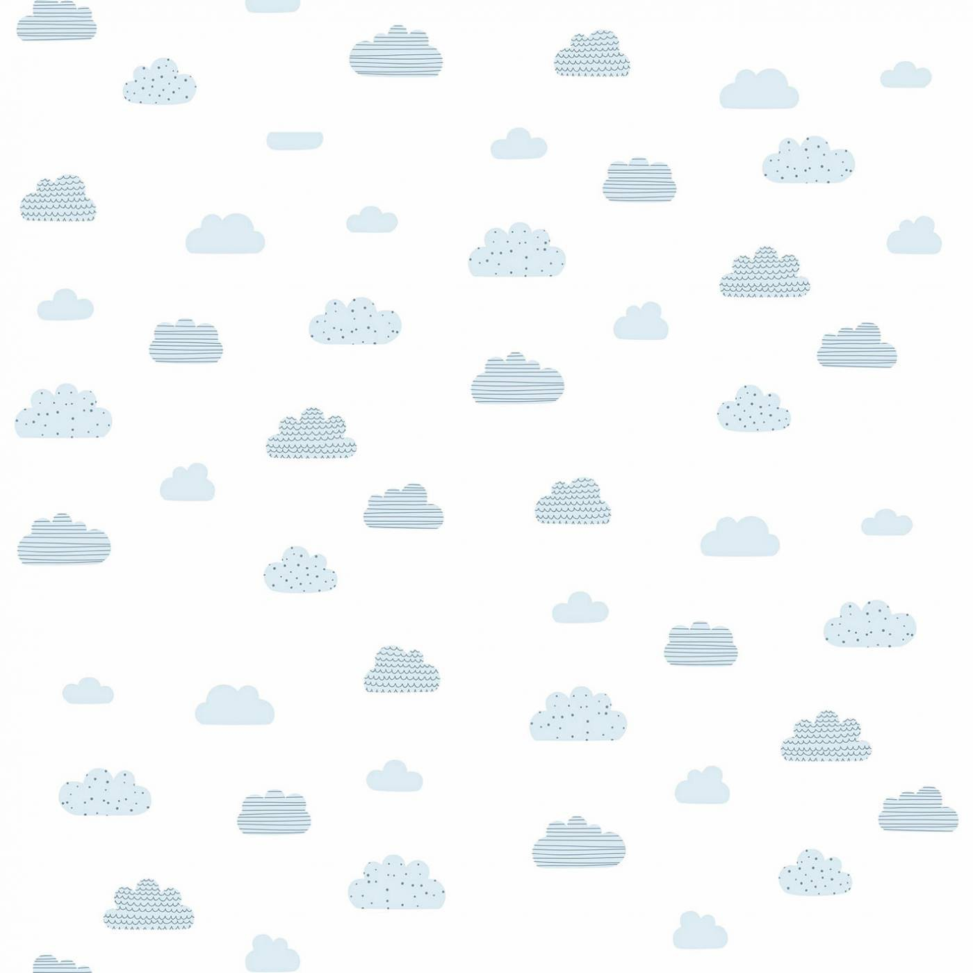 Papel de Parede Nuvens Azul Fundo Branco