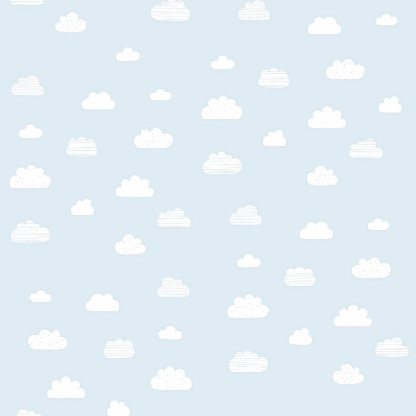 Papel de Parede Nuvens Brancas Fundo Azul