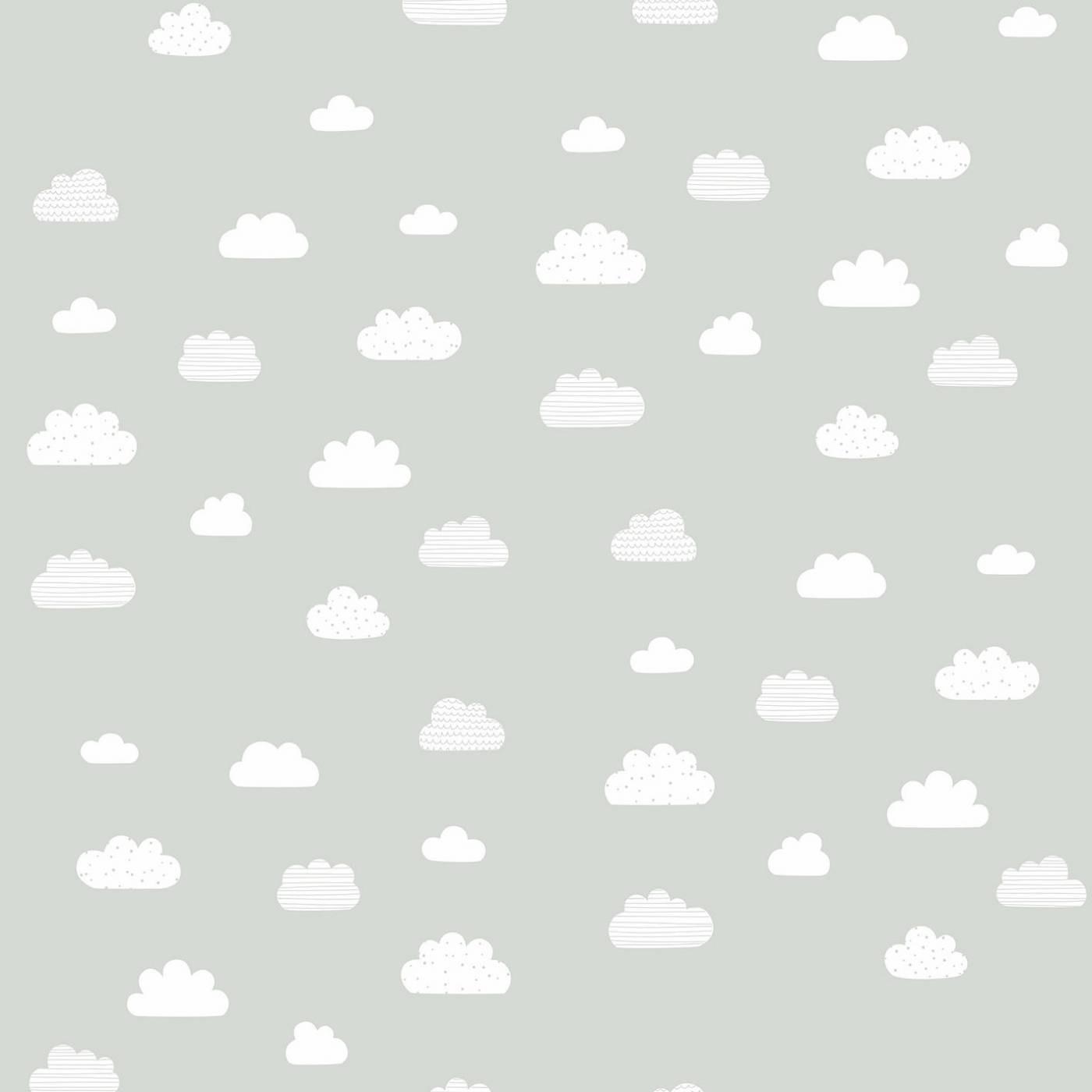 Papel de Parede Nuvens Brancas Fundo Cinza
