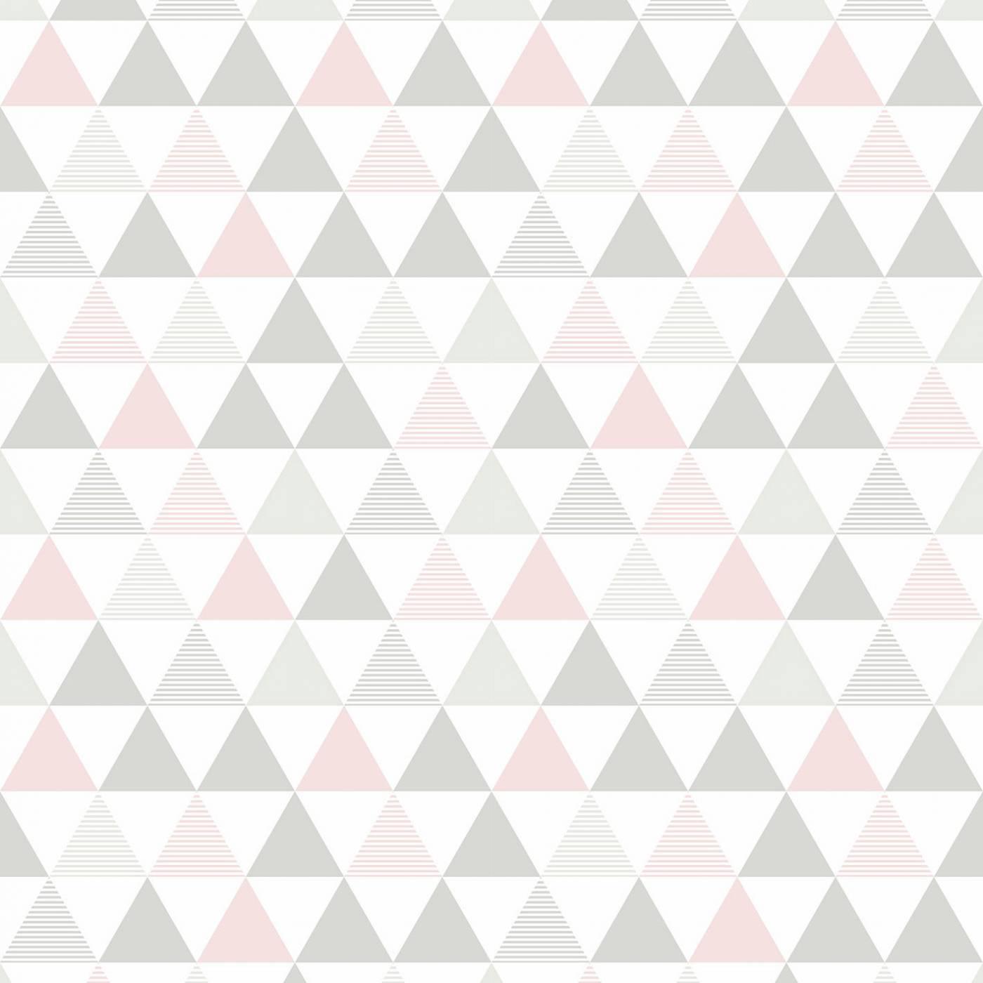Papel de Parede Triangulo Cinza e Rosa