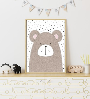Quadro Urso Fundo Poá