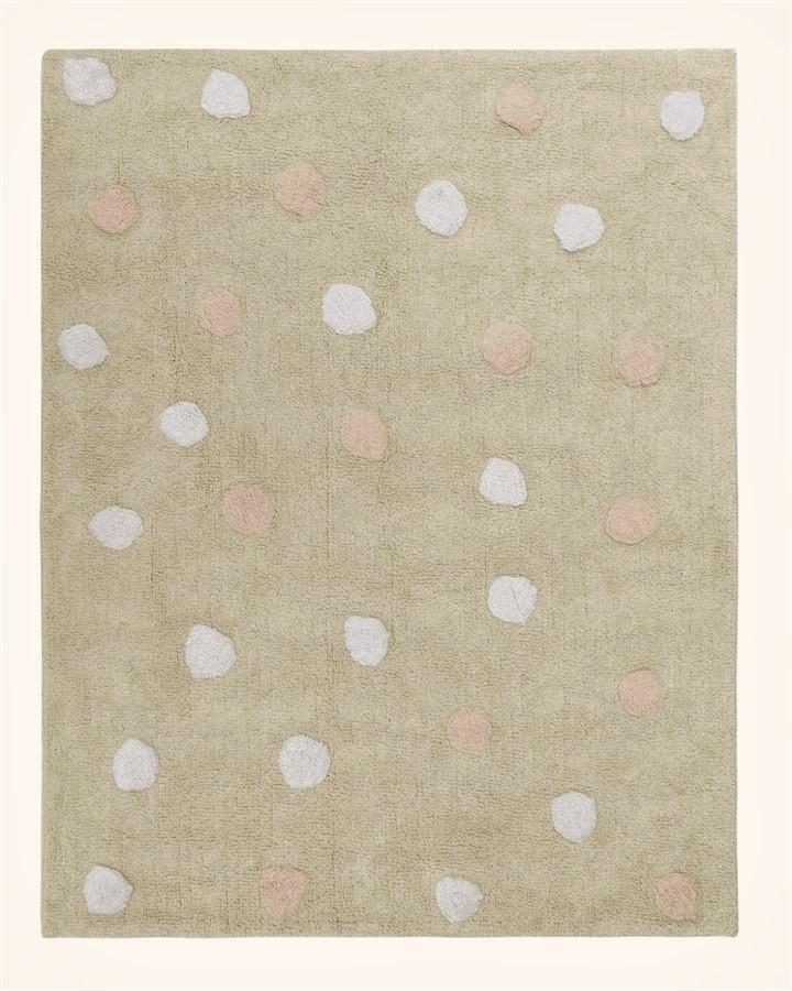 Tapete Multi Dots Bege Rosa e Branco