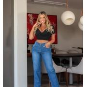 Calça Jeans Capri Mom-1022Azul