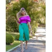 Calça Pantacourt de Viscolinho - Life Color