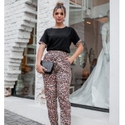 Conjunto de calça e blusa animal print - 10001Preto