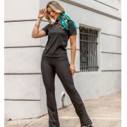 Conjunto de Calça e Blusa Canelado-10038Preto