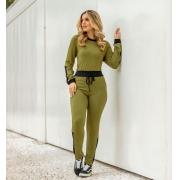 Conjunto de Calça e Blusa decote careca-10016Militar